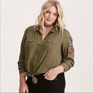 Olive floral embroidered button up